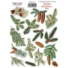 Набор наклеек, стикеров, 16 шт, Winter botanical diary, #232, Фабрика Декора