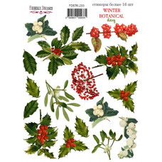 Набор наклеек, стикеров, 16 шт, Winter botanical diary, #233, Фабрика Декора