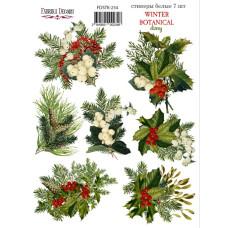 Набор наклеек, стикеров, 7 шт, Winter botanical diary, #234, Фабрика Декора