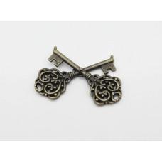 Два скрещенных ключа, метал, состаренная бронза, 61х42мм