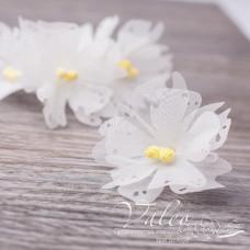 Декоративные тканевые цветы Незабудки 4,5 см 5 шт, белого, Valeo