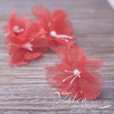 Декоративные тканевые цветы Незабудки 4,5 см 5 шт, кораллового, Valeo