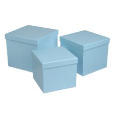 Подарочная коробка, голубой, 3 шт