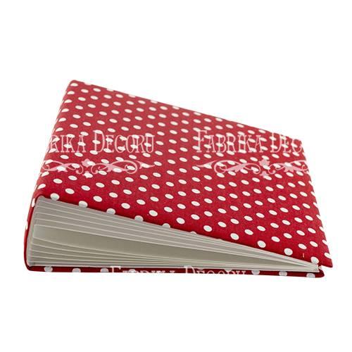 Заготовка альбома в мягкой обложке, Горошек на красном, 7 разворотов, 20х20 см, Фабрика Декора