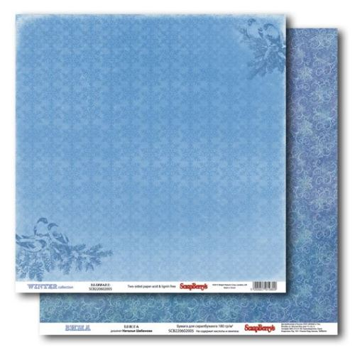 Двусторонняя бумага Зима - Вьюга 30х30 см от ScrapBerry's