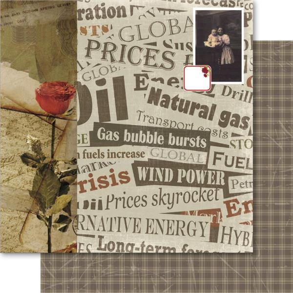 Двусторонняя бумага Old News 30х30 см от Ruby Rock-It