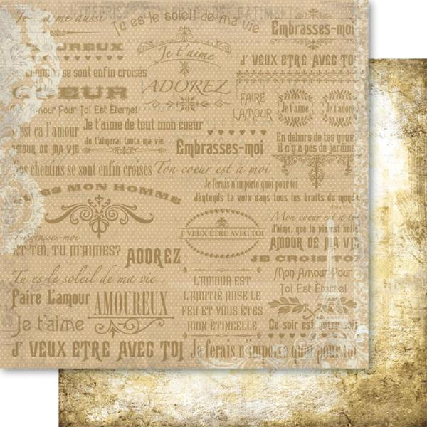 Двусторонняя бумага Gold Love Letter 30х30 см от Ruby Rock-It
