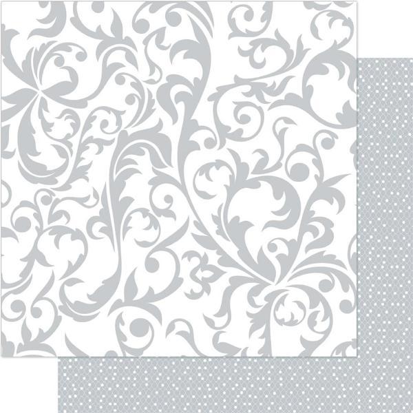 Двусторонняя перламутровая бумага Silver & White Flourish 30х30 см от Ruby Rock-It