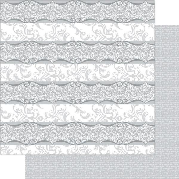 Двусторонняя перламутровая бумага Silver & White Florentine 30х30 см от Ruby Rock-It