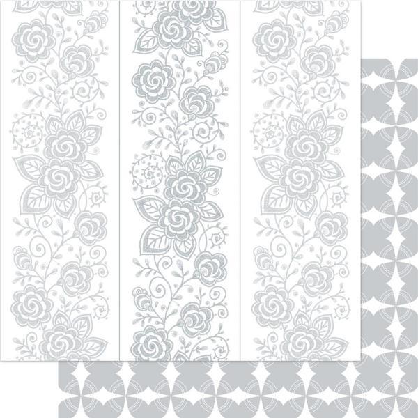 Двусторонняя перламутровая бумага Silver & White Floral 30х30 см от Ruby Rock-It