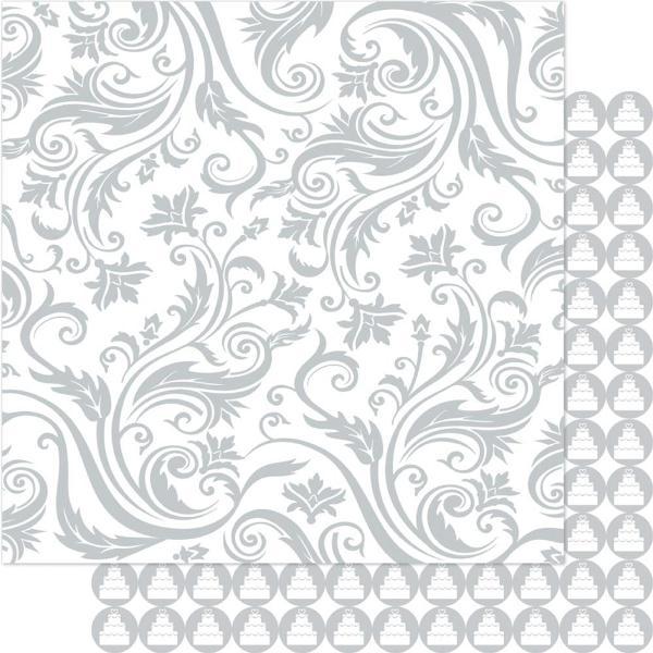 Двусторонняя перламутровая бумага Silver & White Swirl 30х30 см от Ruby Rock-It