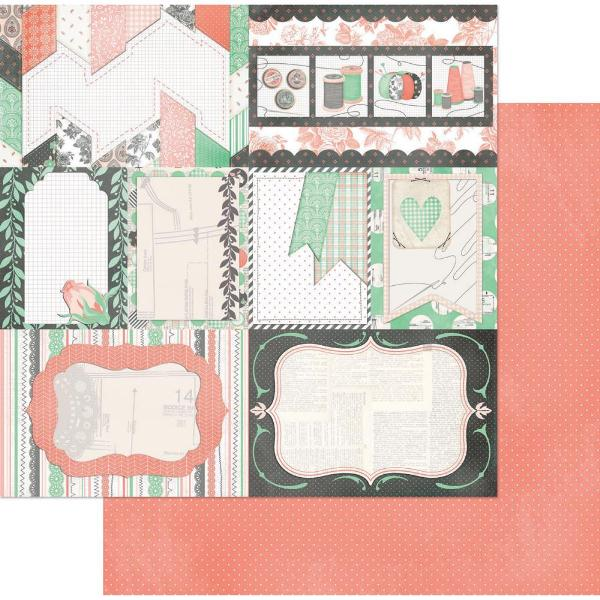 Двусторонняя бумага Backstitch 30х30 см от Bo-Bunny