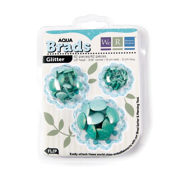 Брадсы Basic Brads Glitter - Aqua от We R Memory Keepers