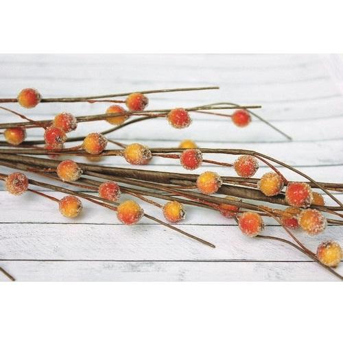 Веточка с ягодками красно-желтого цвета в обсыпке, 40 см от ScrapBerry's