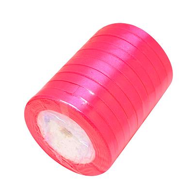 Атласная ленточка ярко-розового цвета, ширина 10 мм, длина 90 см