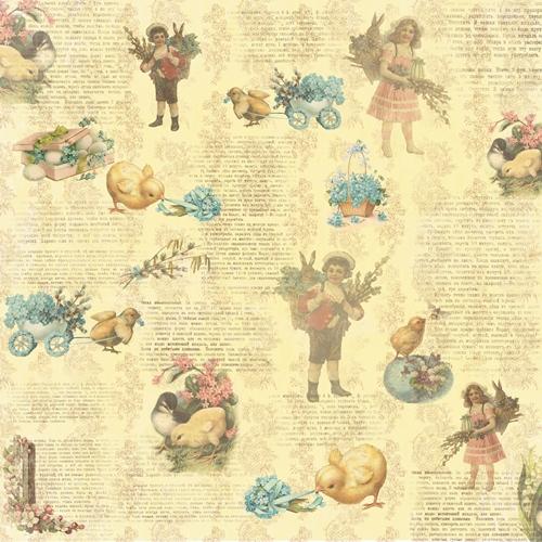 Двусторонняя бумага Весенний Праздник. Незабудка - 30,5х30,5 см от ScrapBerry's