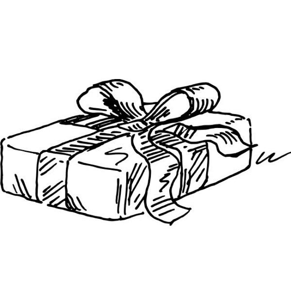"""Акриловый штамп """"Подарок"""" 3.9х2.0 см"""