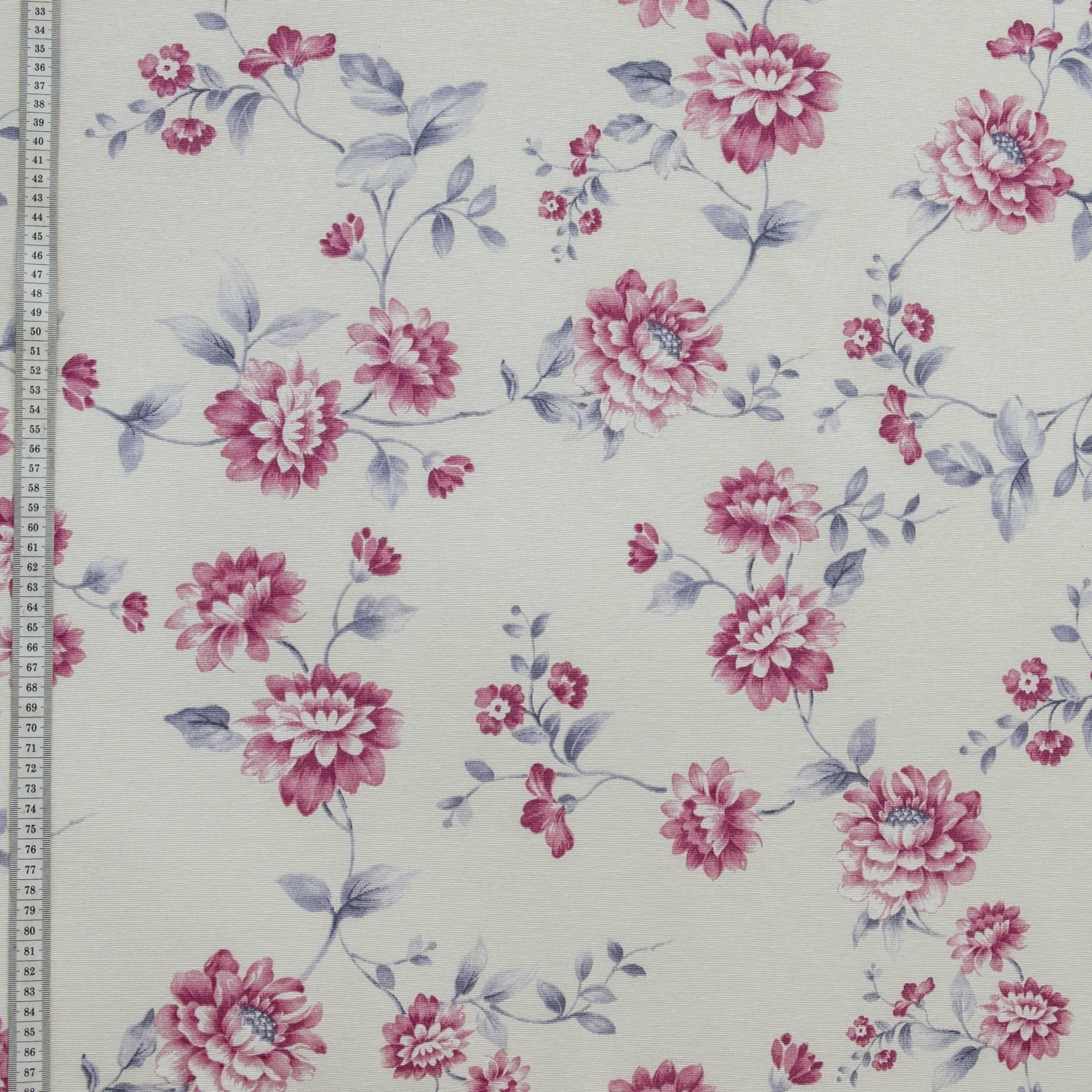 Декоративная ткань бланко, цветы, хлопок 70%, 164г/м, 50x70 см