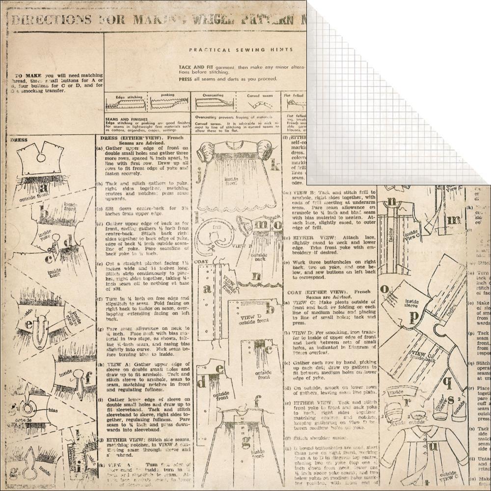 Двусторонняя бумага Dress Form 30х30 см от Kaisercraft