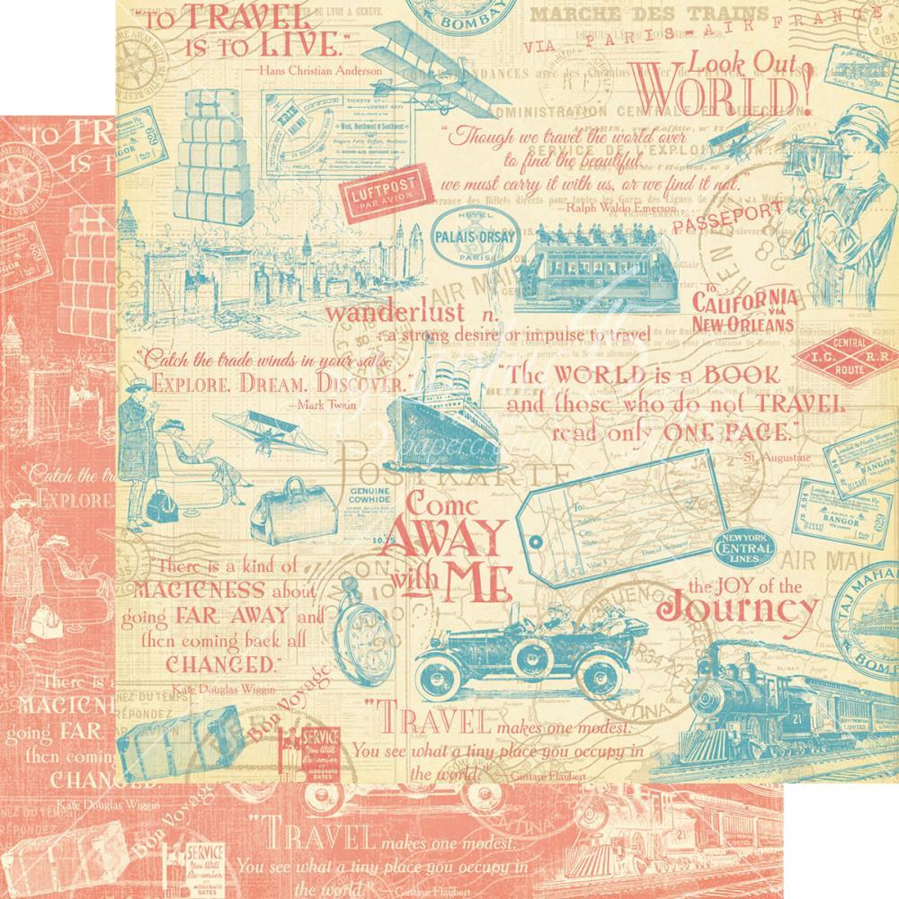 Двусторонняя скрапбумага Wunderlust 30х30 см от Graphic 45