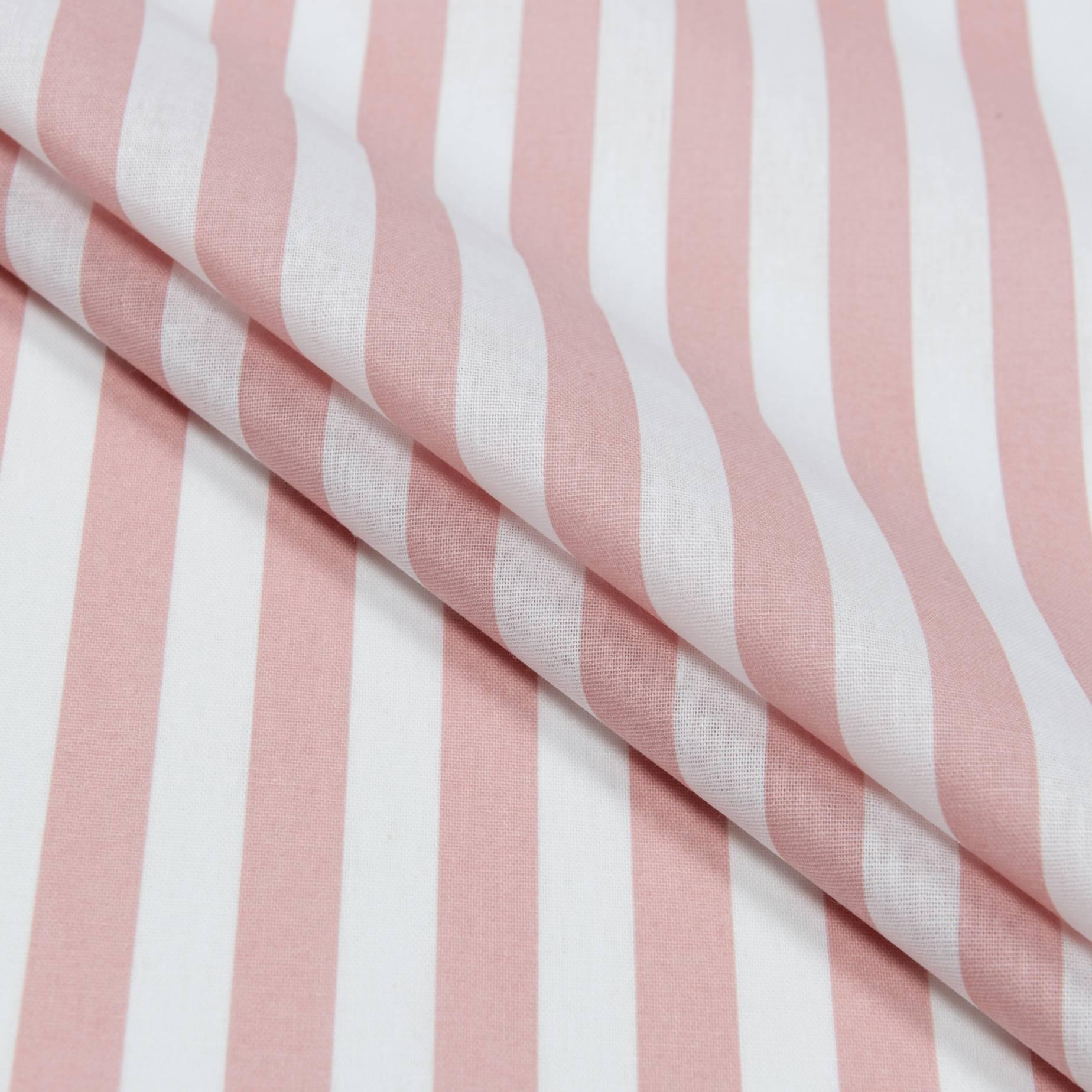 Бязь набивная, Полоса, розовая, плотность 120, 50x55, хлопок 100%
