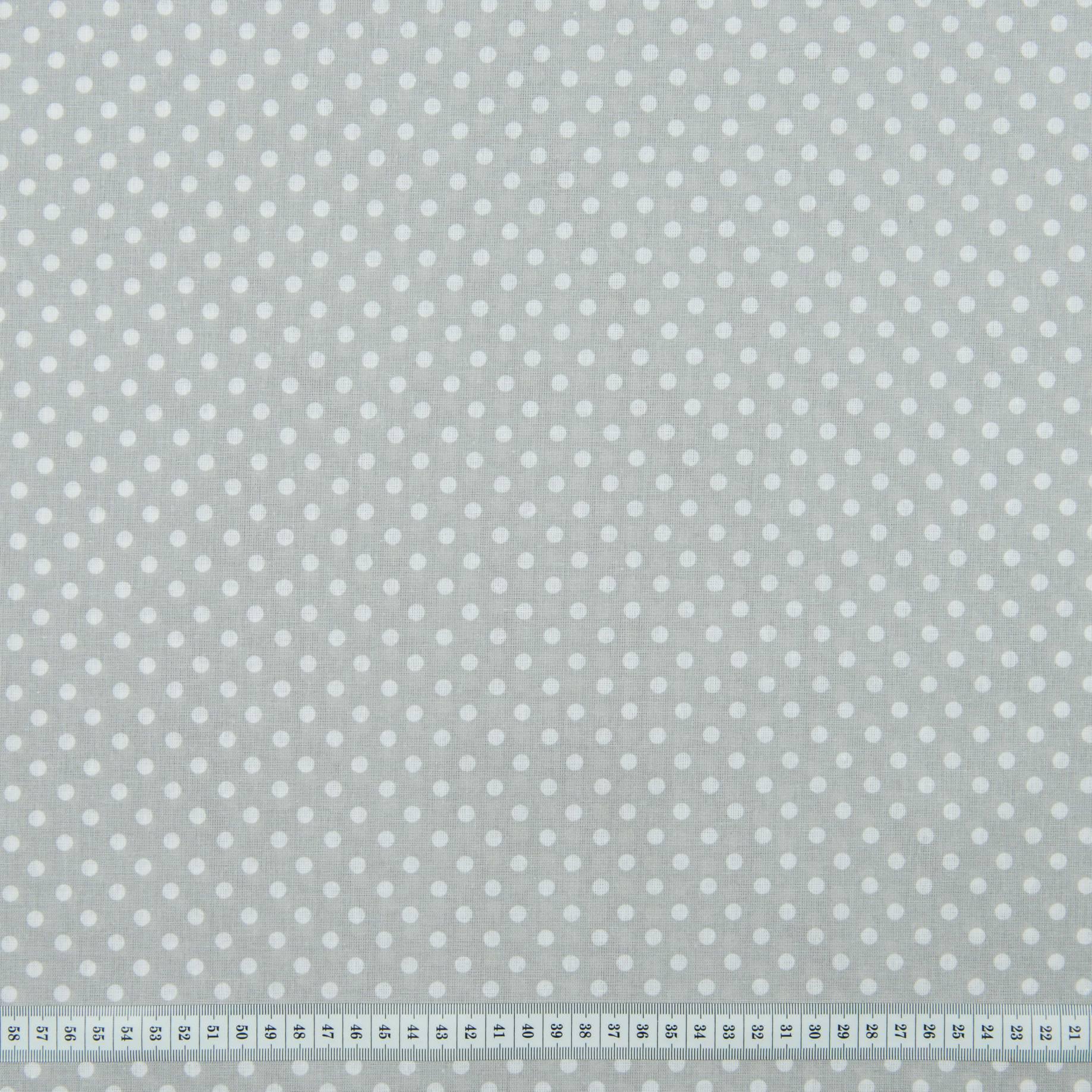 Бязь набивная, Горохи, серая, плотность 120, 50x55, хлопок 100%