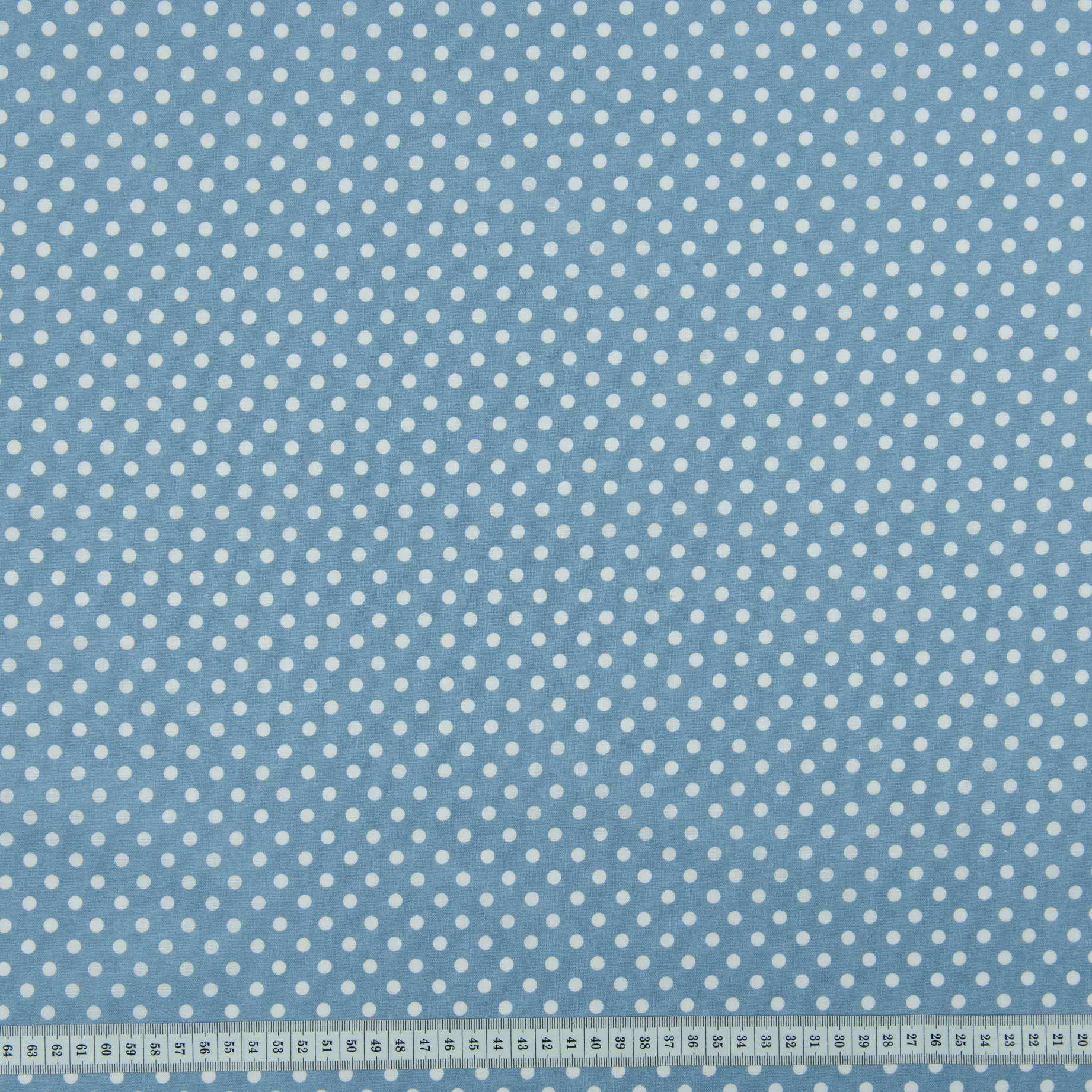 Бязь набивная, Горохи, синяя, плотность 120, 50x55, хлопок 100%