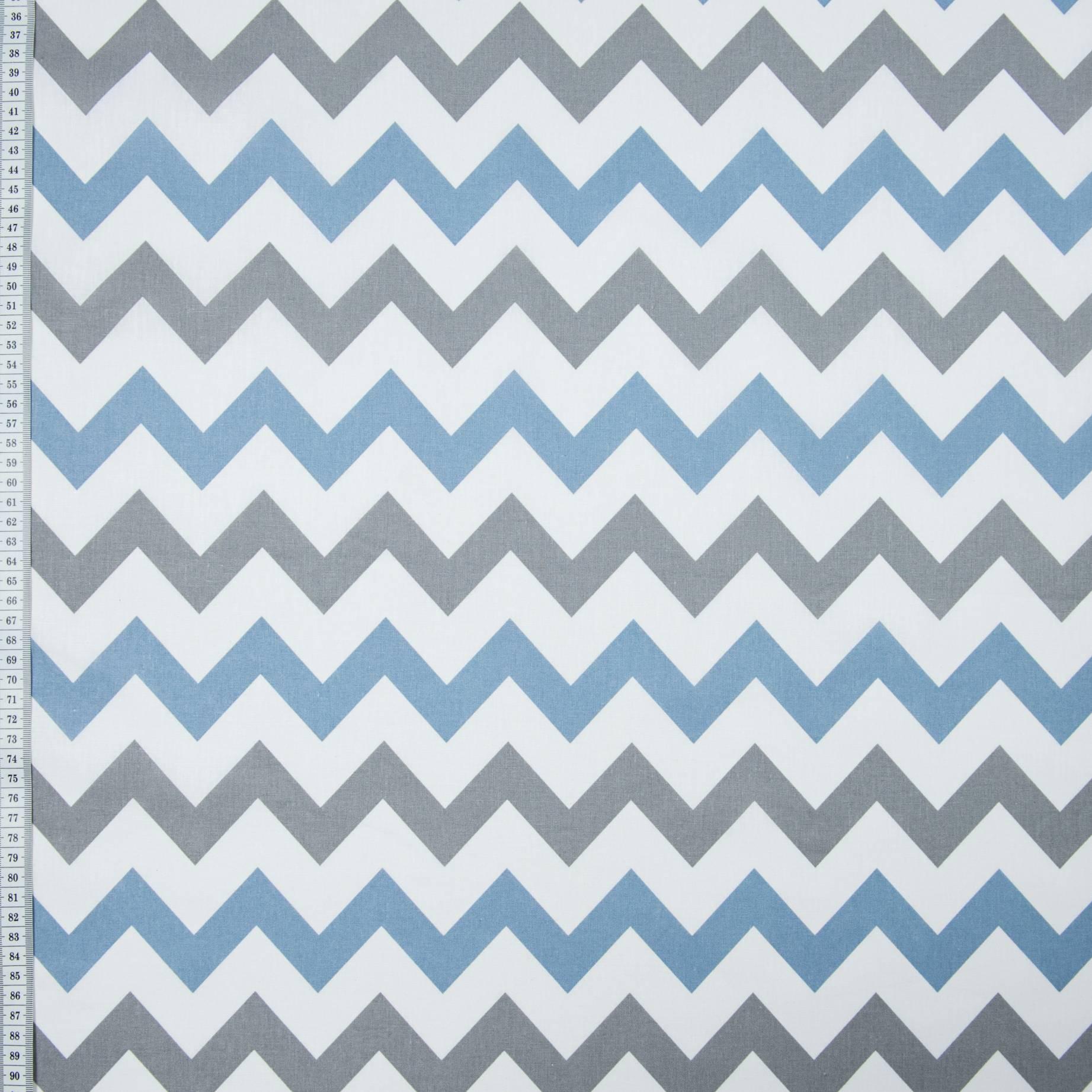 Бязь набивная, Зиг-заг, синяя, плотность 120, 50x55, хлопок 100%