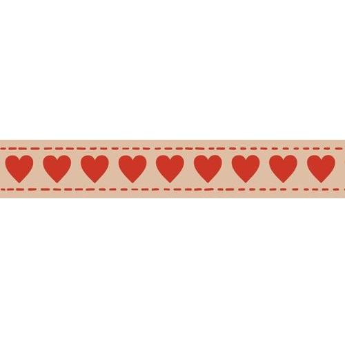 Бумажный скотч с принтом Сердечки 15мм*8м от Scrapberry's
