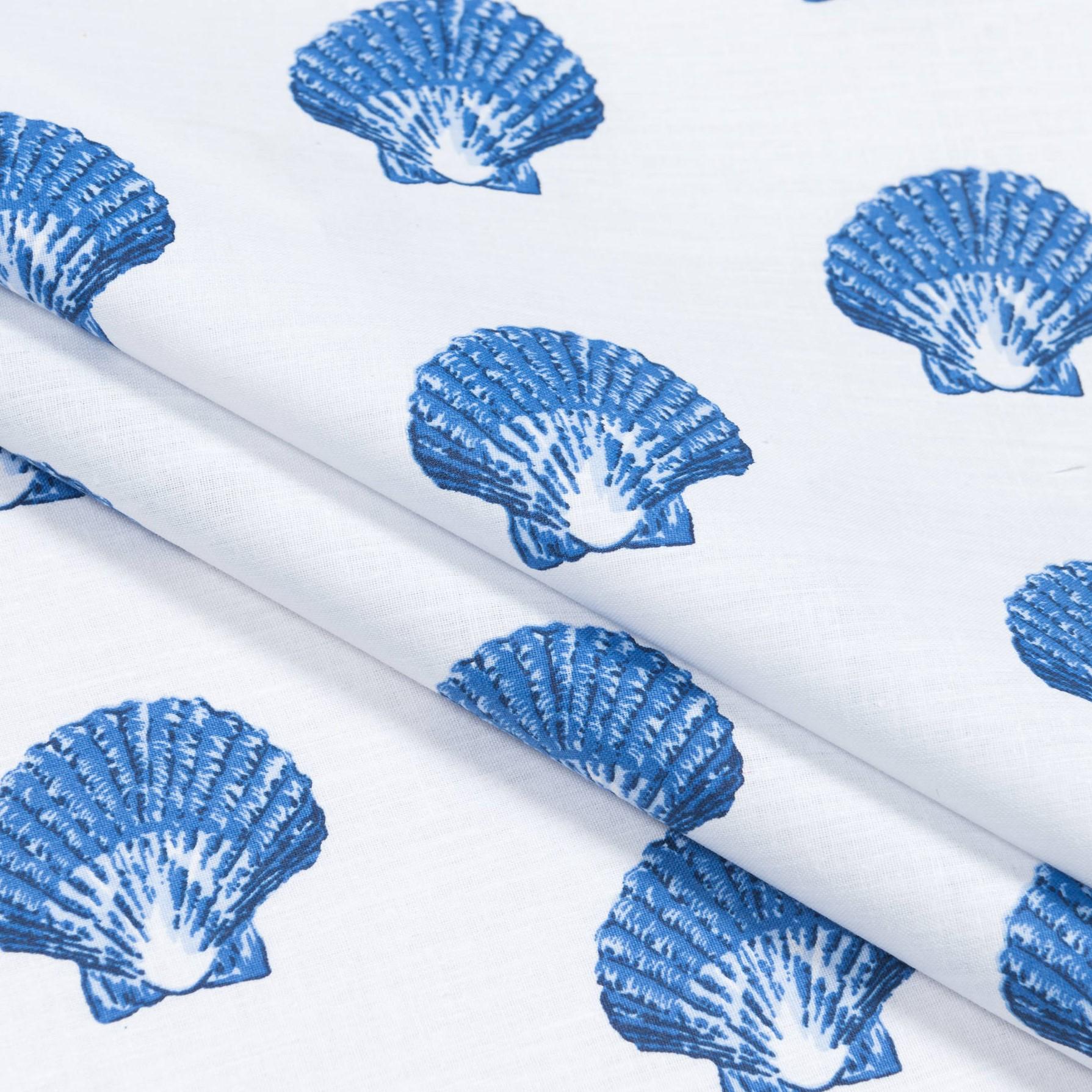 Бязь набивная голд Ракушки синие, размер 50х70 см, хлопок 52%, полиэстер 48%, плотность 120