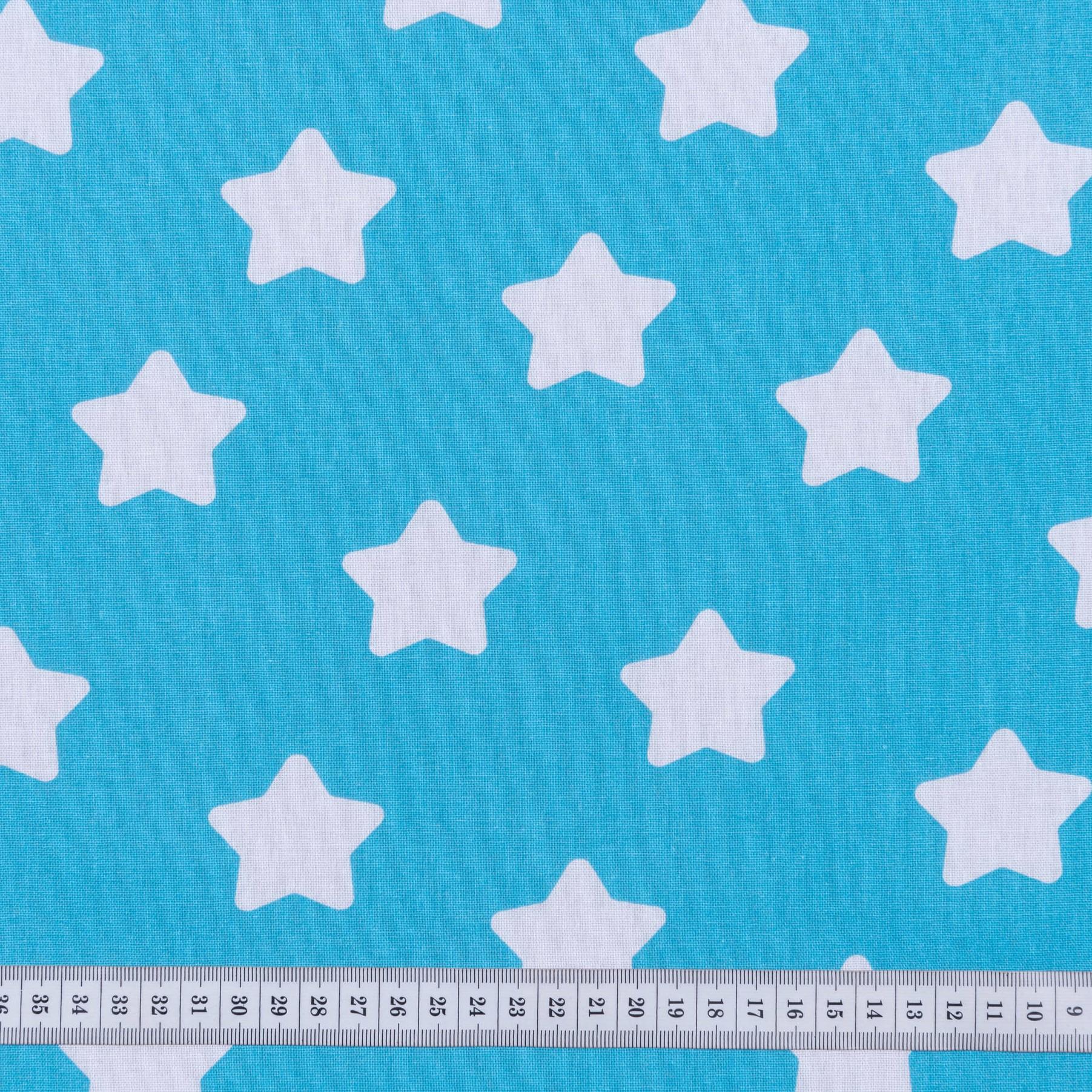 Бязь набивная Звездочки голубые, размер 50х70 см, хлопок 100%, плотность 120