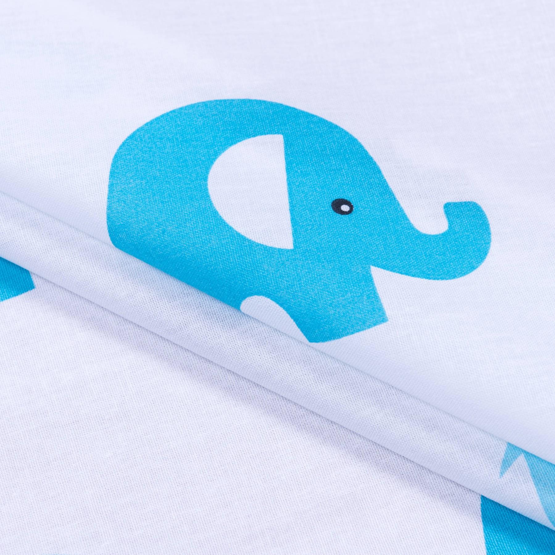 Бязь набивная Голубые слоники, размер 50х70 см, хлопок 100%, плотность 120