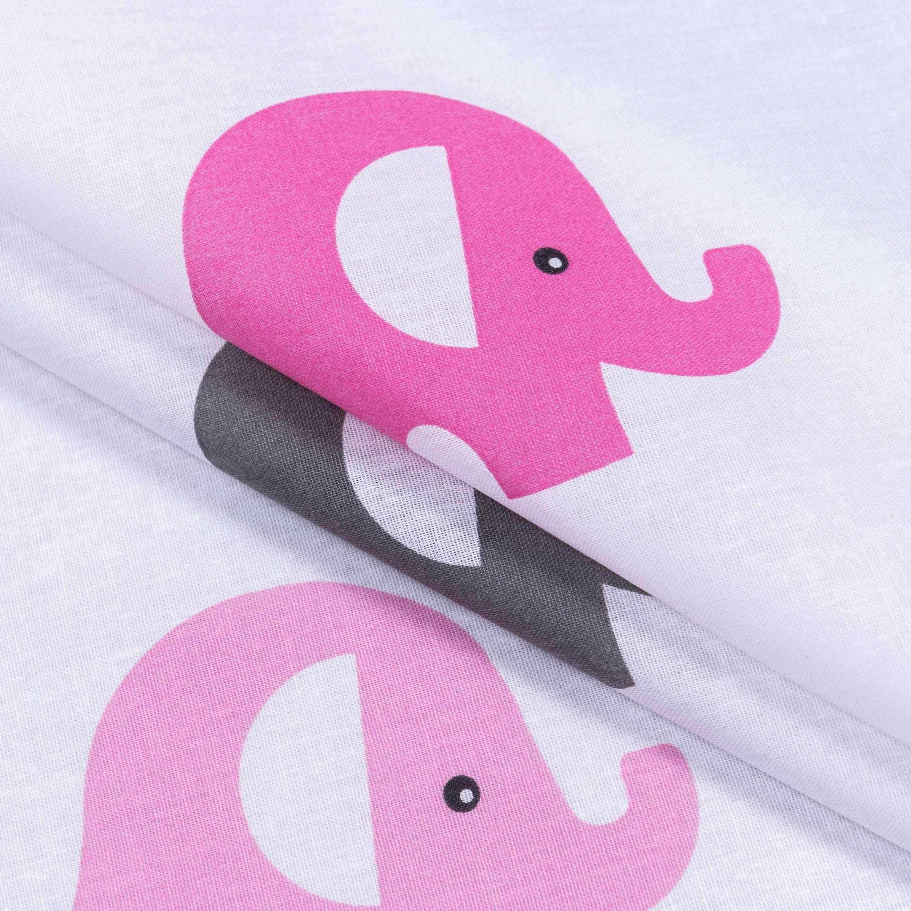 Бязь набивная Розовые слоники, размер 50х70 см, хлопок 100%, плотность 120