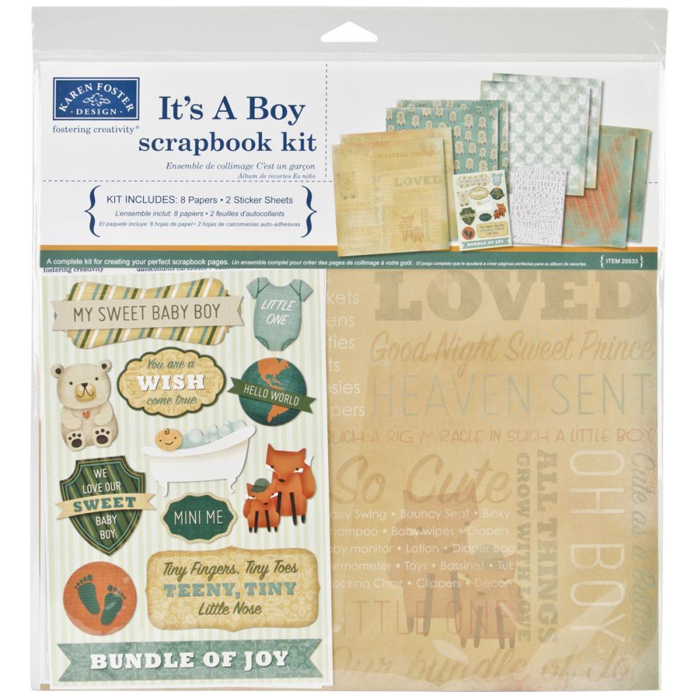 """Набор бумаги """"It's A Boy"""", размер 30*30, 10 листов от Karen Foster"""