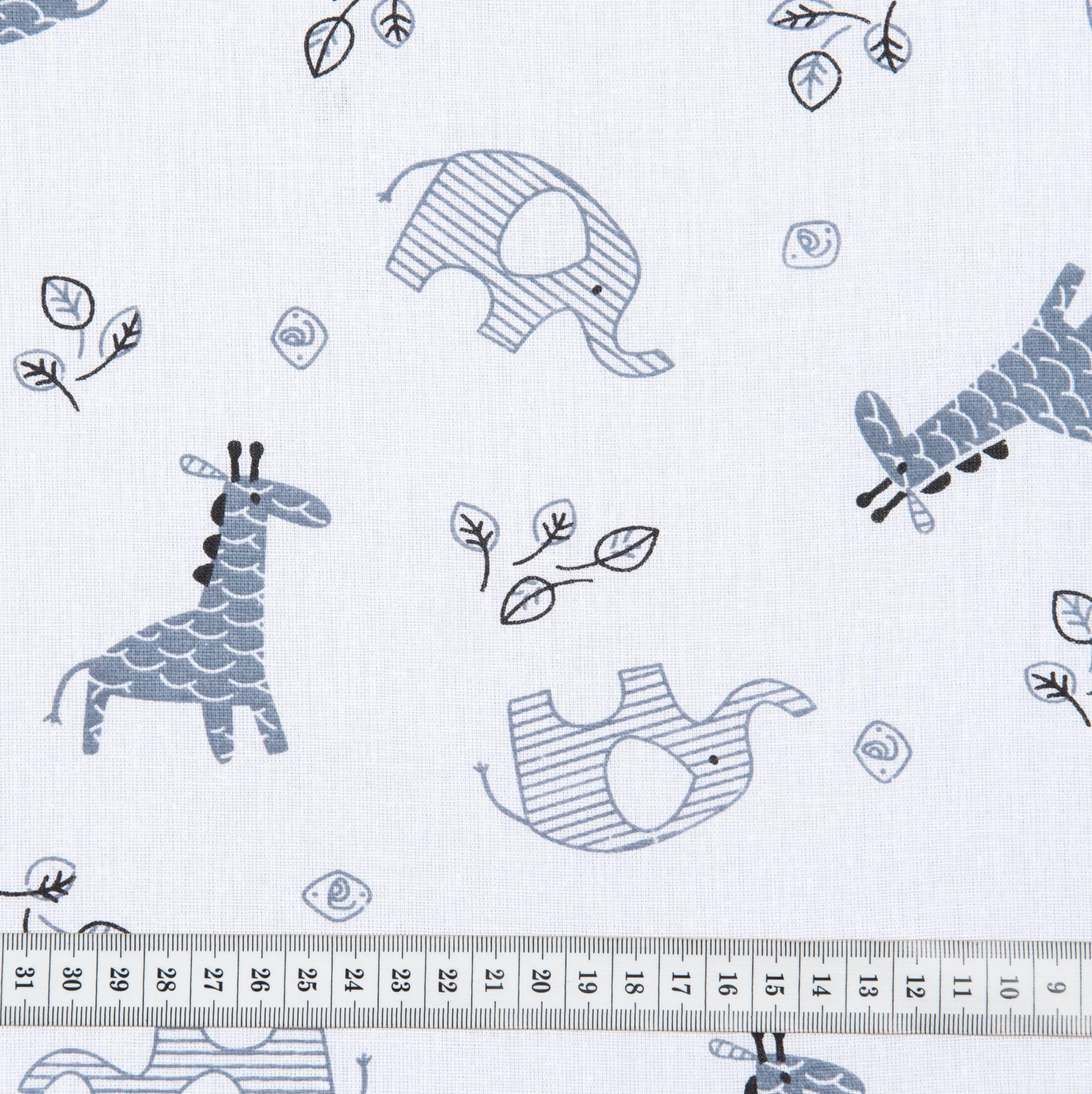 Бязь набивная детская, Жираф, плотность 120, 50х50 см, хлопок 100%