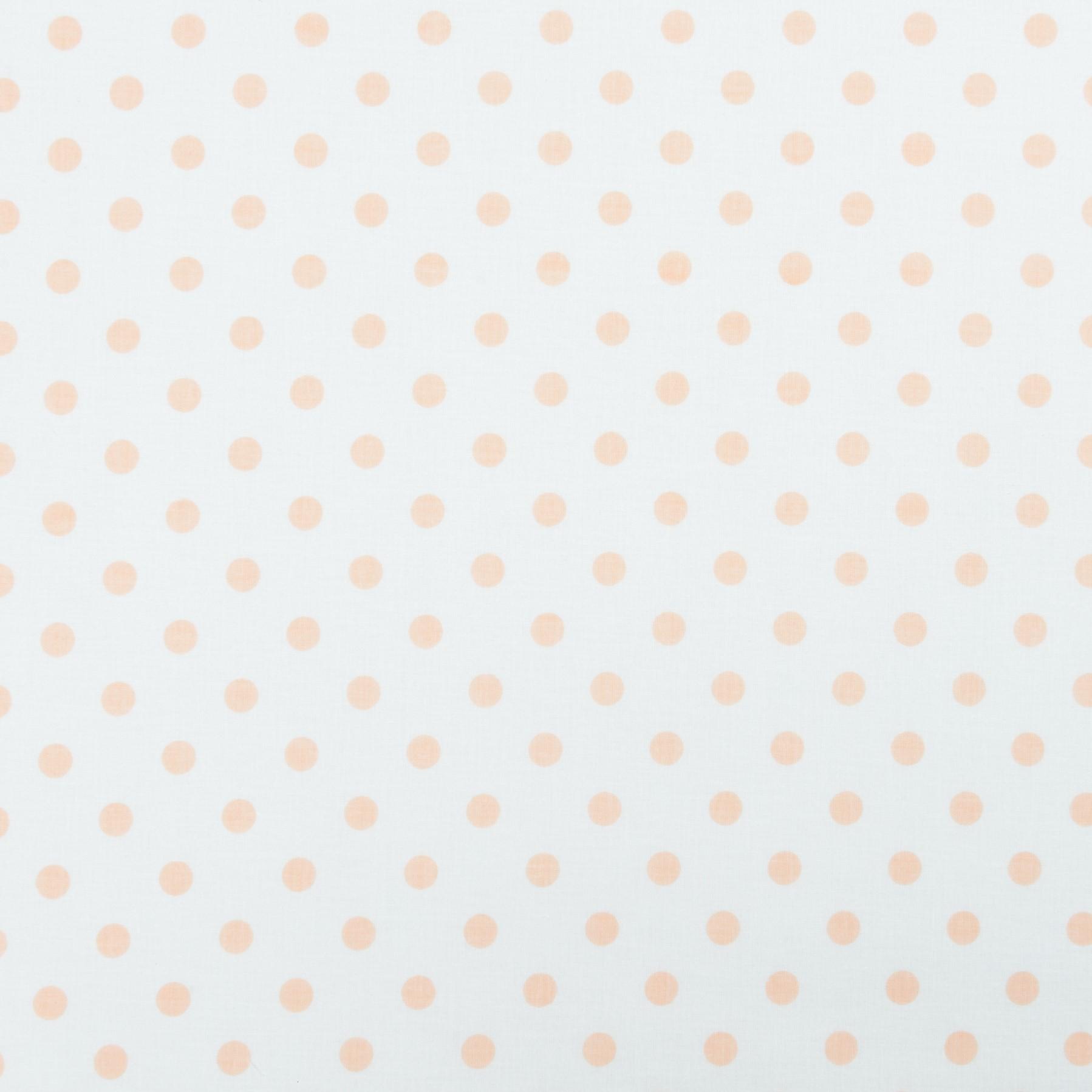 Бязь набивная горошек персиковый, хлопок, 50х50 см, плотность 125