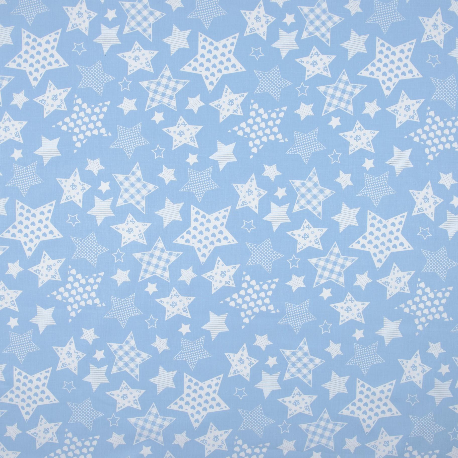 Бязь набивная голд Синие звезды, хлопок 50%, 50х55 см, плотность 120