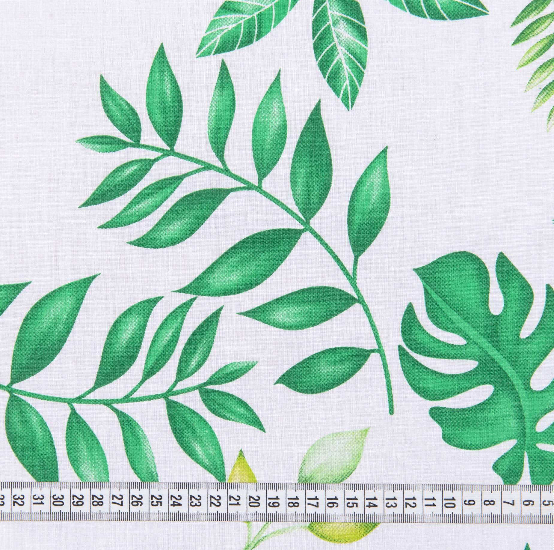 Бязь набивная, Листья, плотность 120, 50х55 см, хлопок 52%