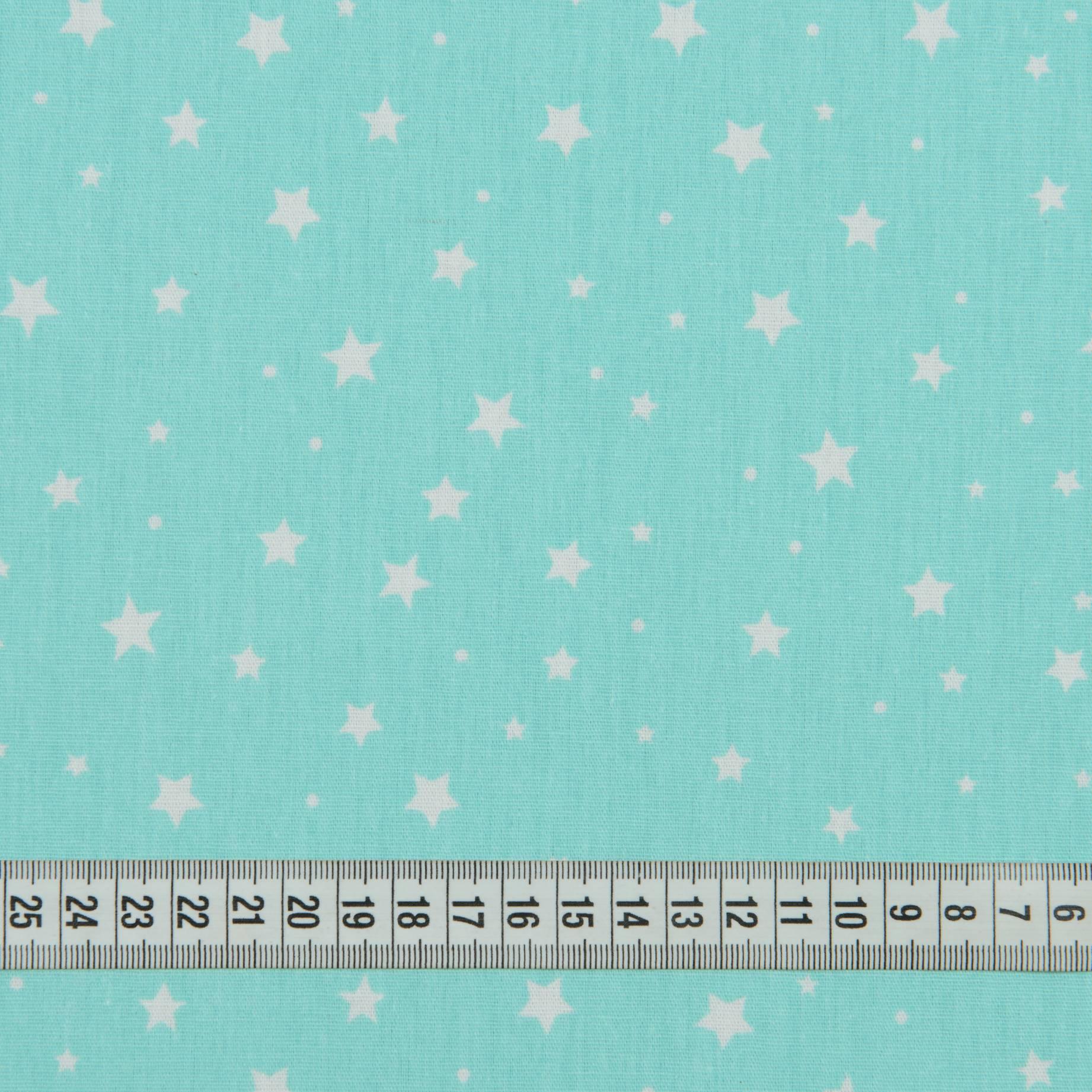 Бязь набивная, Звезды, бирюзовый, 100% хлопок, 140 г/м2, 50х50 см