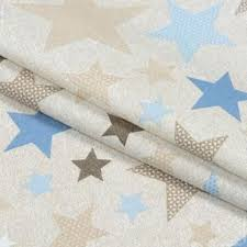 Бязь набивная, Звезды, 100% хлопок, 140 г/м2, 50x55 см
