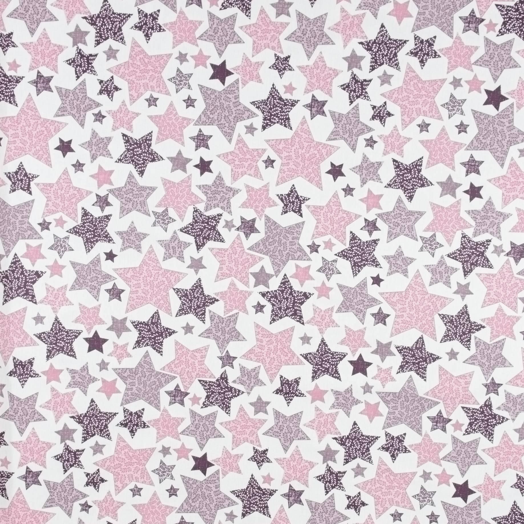 Бязь набивная, Renforce Lux, Звезды, розовый, 50х60 см, хлопок 100%, 120 г/м²