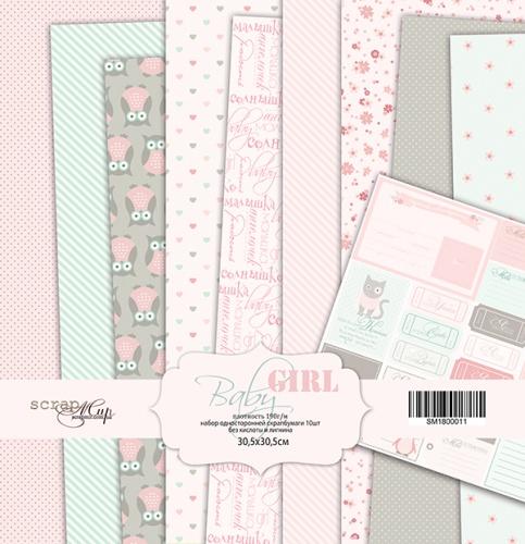 Набор односторонней бумаги 30х30см Baby Girl 10 листов от Scrapmir