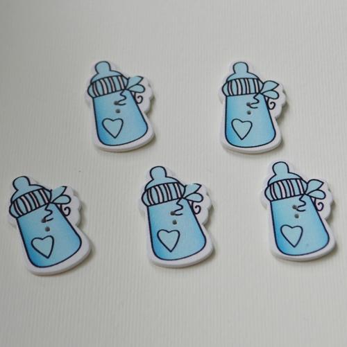 Деревянная пуговица Бутылочка, голубая, 37х23 мм, 1 шт.