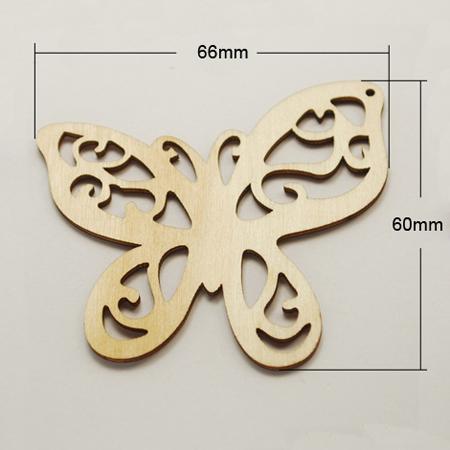 Деревянное украшение Бабочка резная 66 мм.