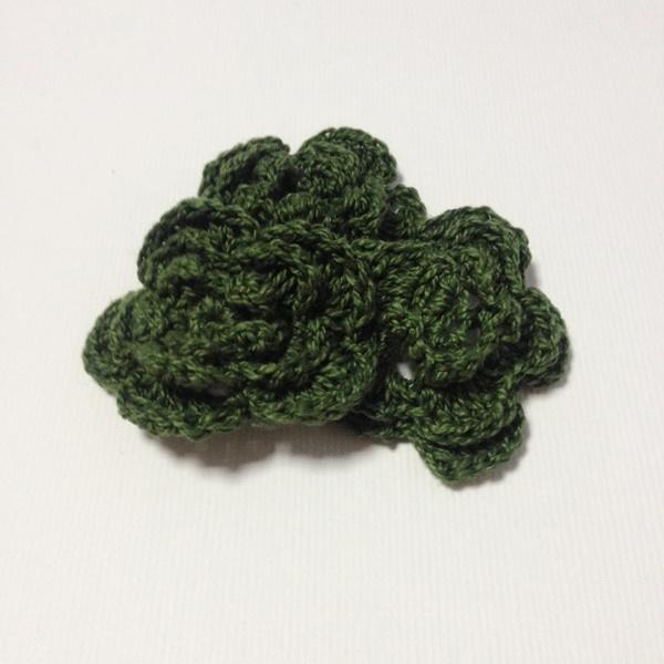 Вязаный двухслойный цветок, 36 мм, цвет темно-зеленый
