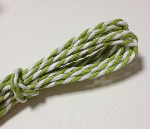 Двухцветный бумажный шнур, 2 мм, рулон 7 м, цвет зеленый