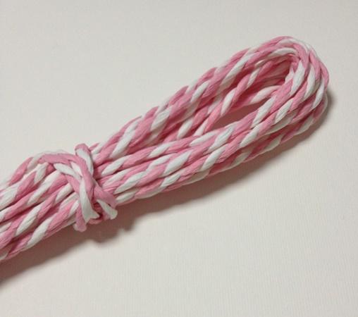 Двухцветный бумажный шнур, 2 мм, рулон 7 м, цвет розовый