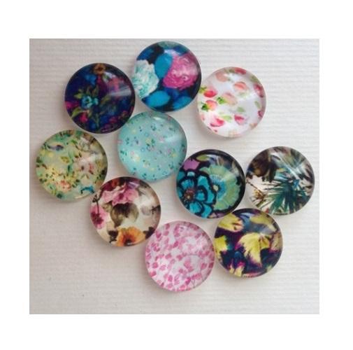 """Стеклянные кабошоны """"Цветы"""", набор 10 шт, размер 12 мм"""