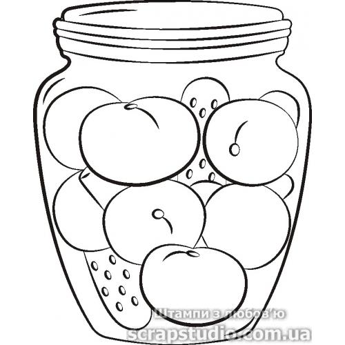 """Акриловый штамп """"Баночка с фруктами"""", размер 3,4*4,3 см от ScrapStudio"""