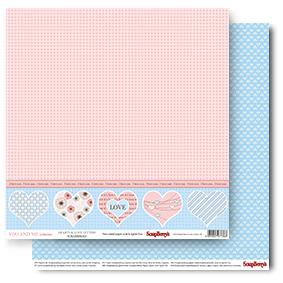 Двусторонняя бумага Сердце в точечку , 30,5*30,5, 190 г/м2 от ScrapBerry's
